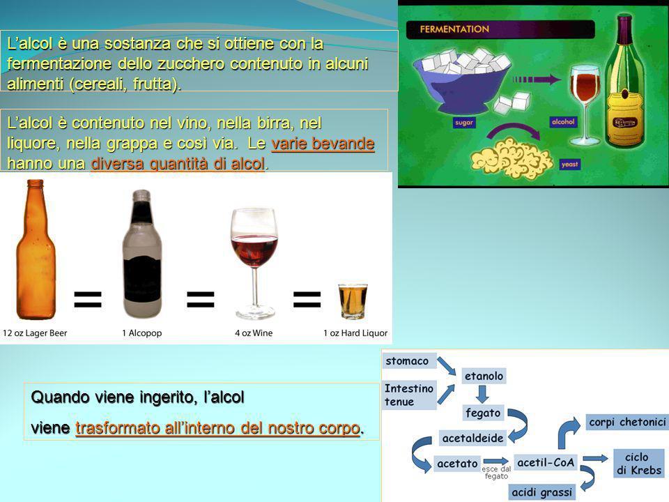 L'alcol è una sostanza che si ottiene con la fermentazione dello zucchero contenuto in alcuni alimenti (cereali, frutta).