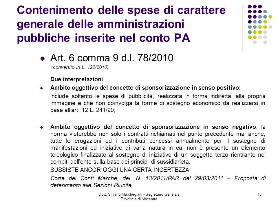Dott. Silvano Marchegiani - Segretario Generale Provincia di Macerata