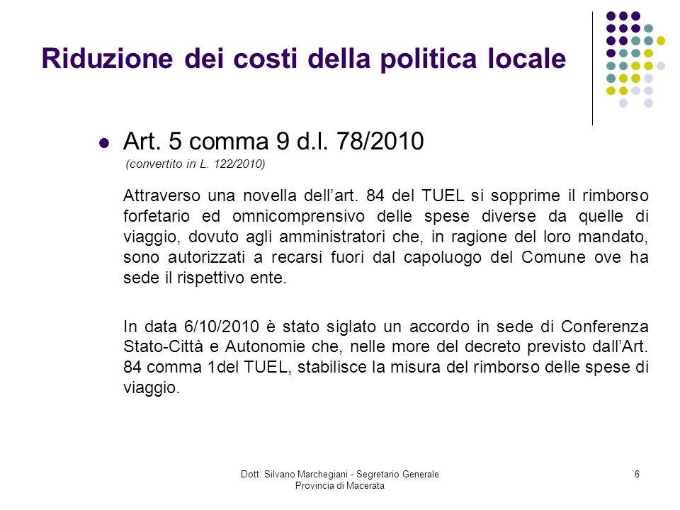 Riduzione dei costi della politica locale