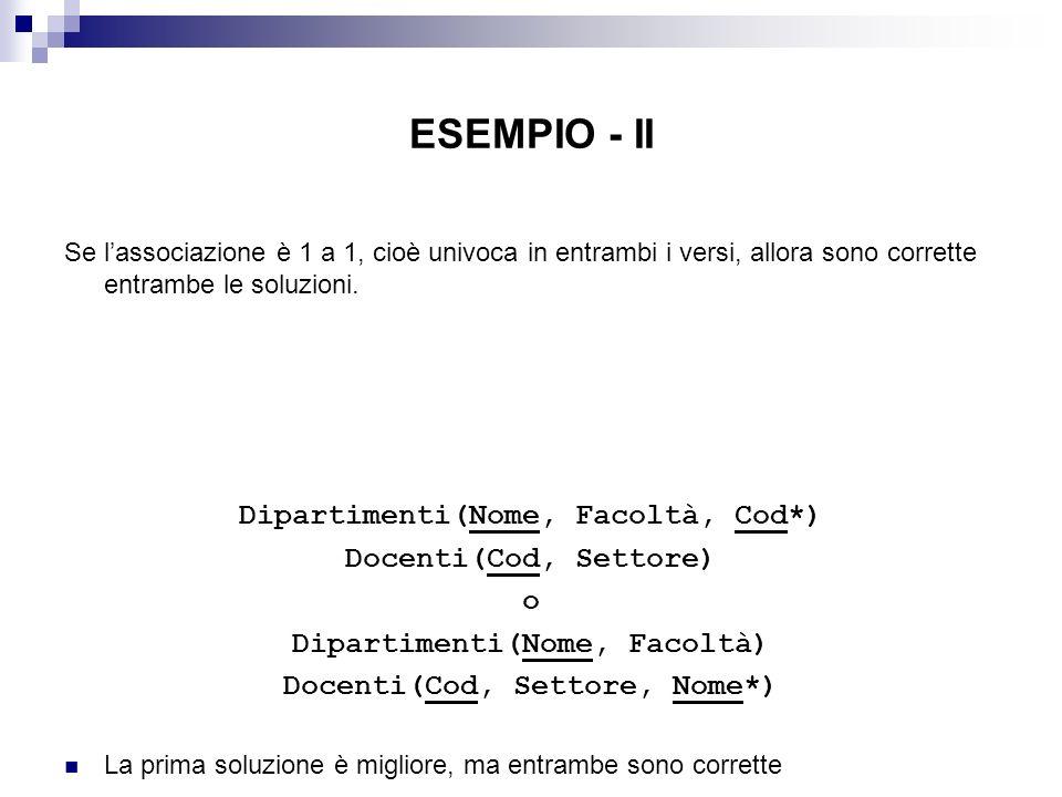 ESEMPIO - II Dipartimenti(Nome, Facoltà, Cod*) Docenti(Cod, Settore) o