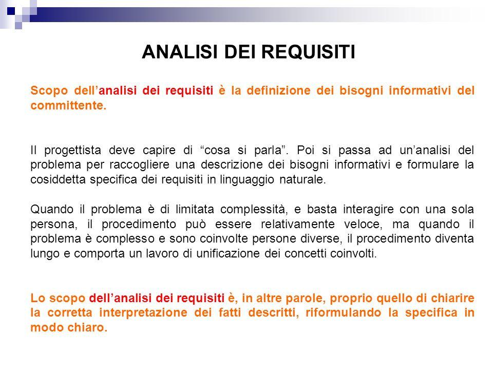 ANALISI DEI REQUISITI Scopo dell'analisi dei requisiti è la definizione dei bisogni informativi del committente.