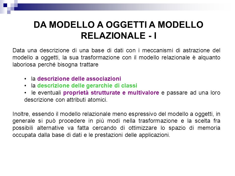DA MODELLO A OGGETTI A MODELLO RELAZIONALE - I