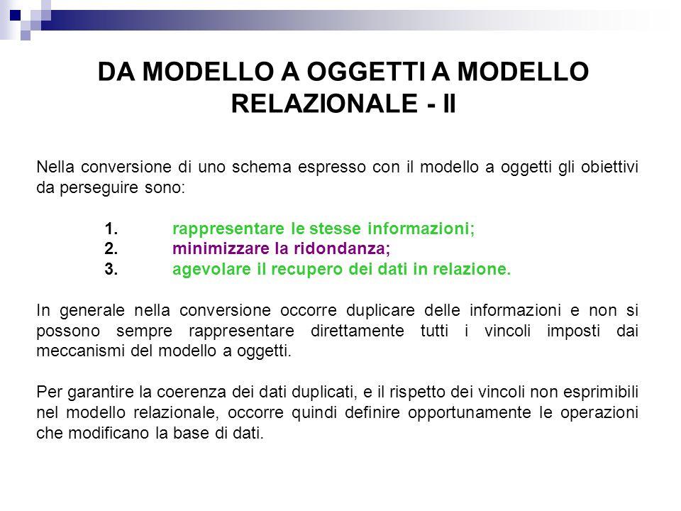 DA MODELLO A OGGETTI A MODELLO RELAZIONALE - II