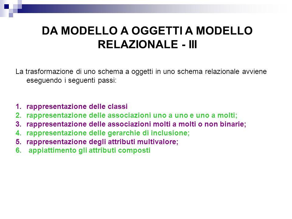 DA MODELLO A OGGETTI A MODELLO RELAZIONALE - III