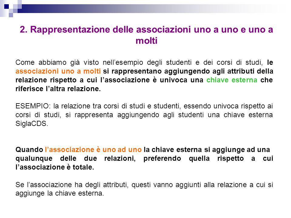 2. Rappresentazione delle associazioni uno a uno e uno a molti