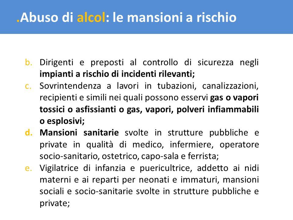.Abuso di alcol: le mansioni a rischio