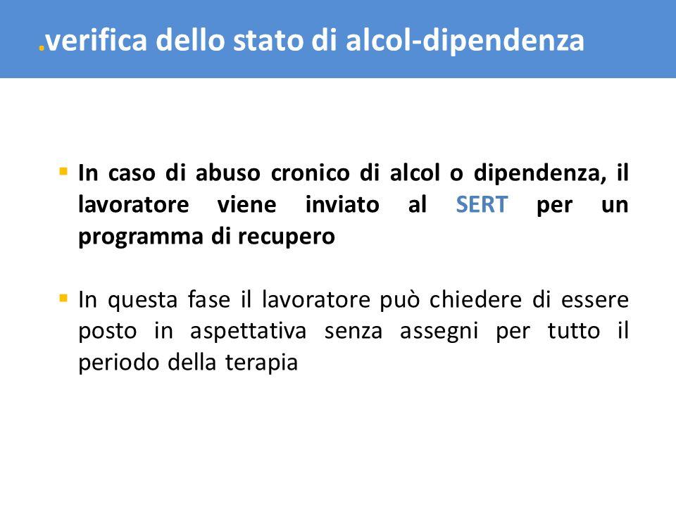 .verifica dello stato di alcol-dipendenza