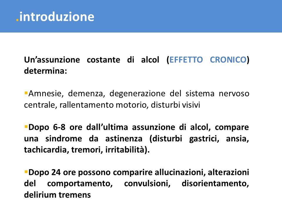 .introduzione Un'assunzione costante di alcol (EFFETTO CRONICO) determina: