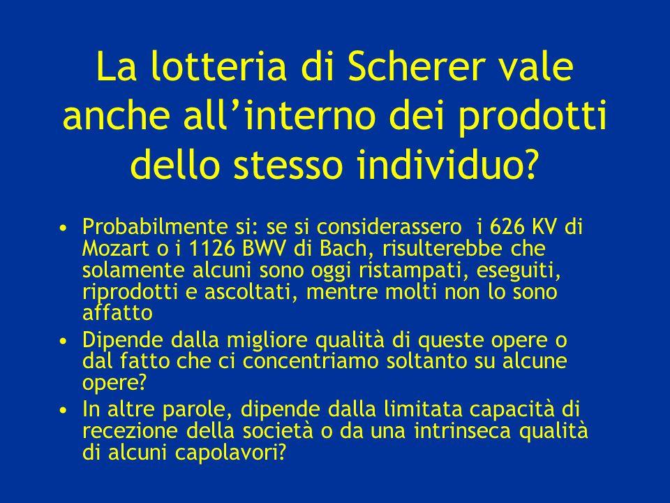 La lotteria di Scherer vale anche all'interno dei prodotti dello stesso individuo