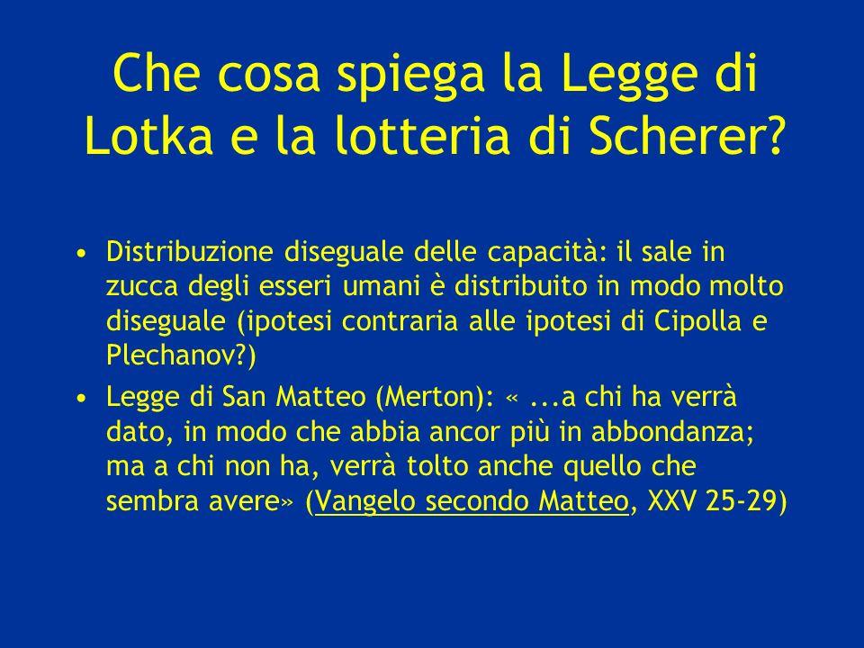 Che cosa spiega la Legge di Lotka e la lotteria di Scherer