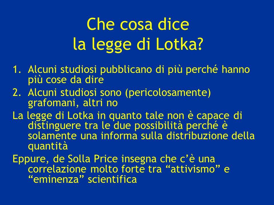 Che cosa dice la legge di Lotka
