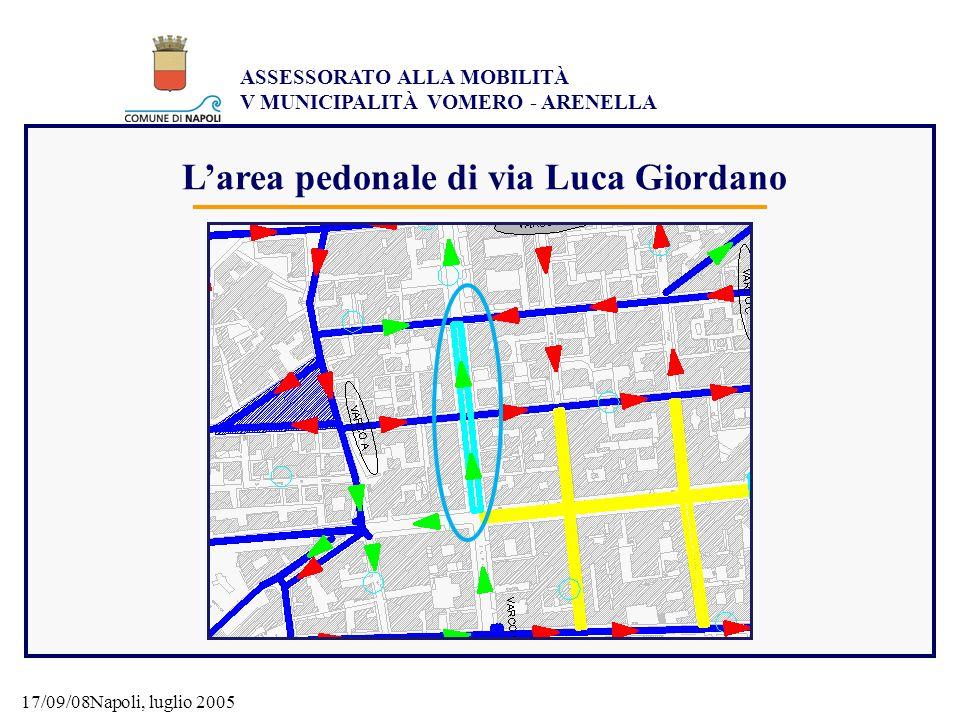L'area pedonale di via Luca Giordano