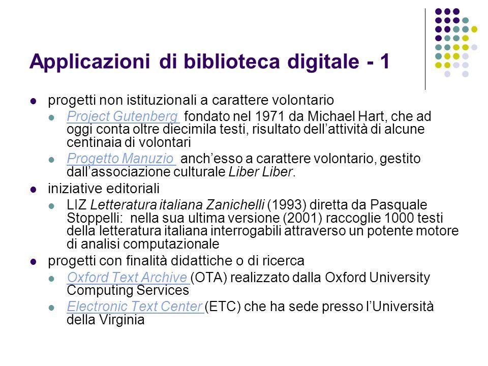 Applicazioni di biblioteca digitale - 1