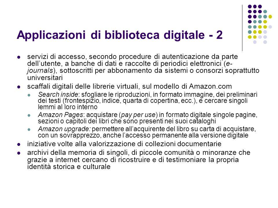 Applicazioni di biblioteca digitale - 2