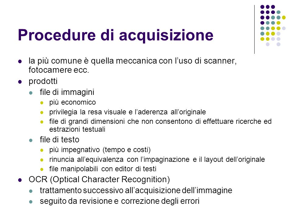 Procedure di acquisizione