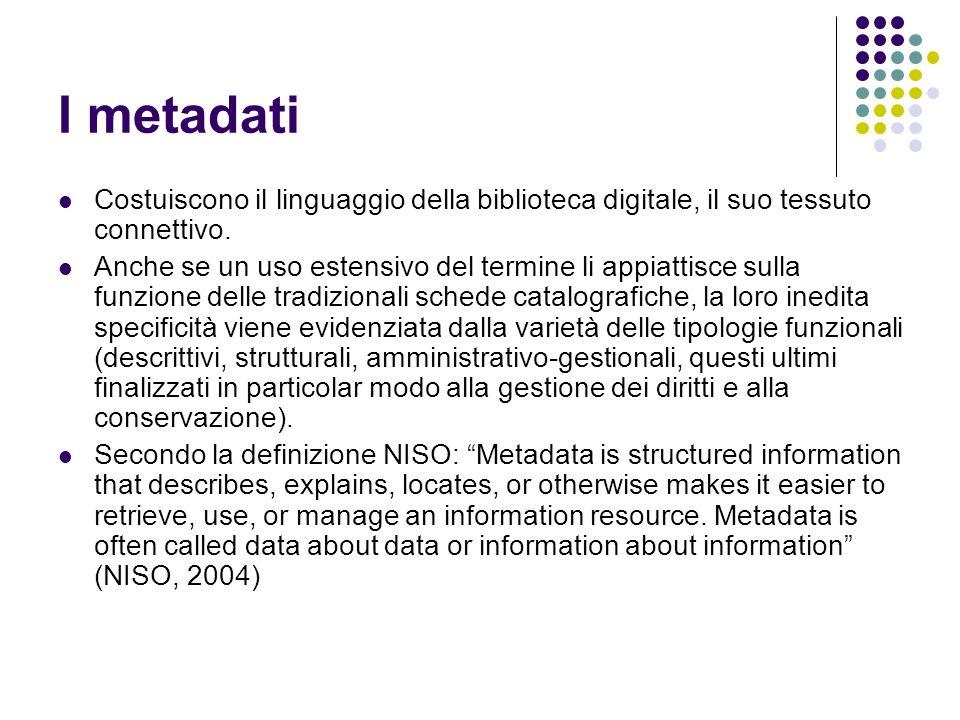 I metadati Costuiscono il linguaggio della biblioteca digitale, il suo tessuto connettivo.