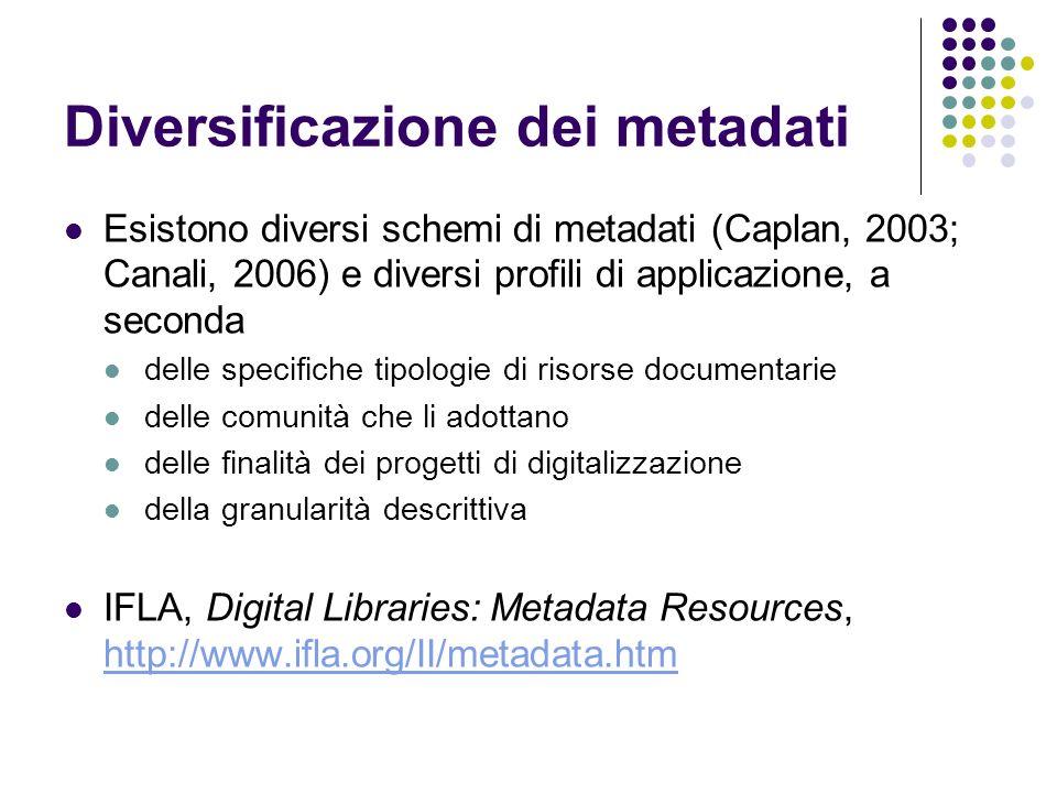 Diversificazione dei metadati