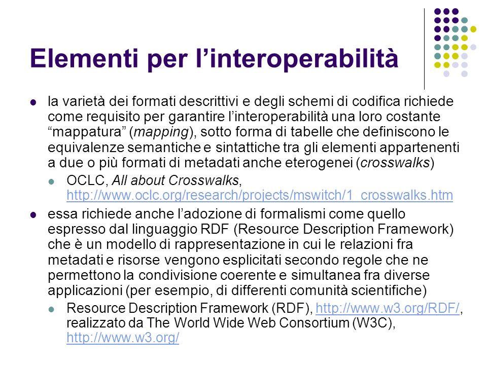 Elementi per l'interoperabilità