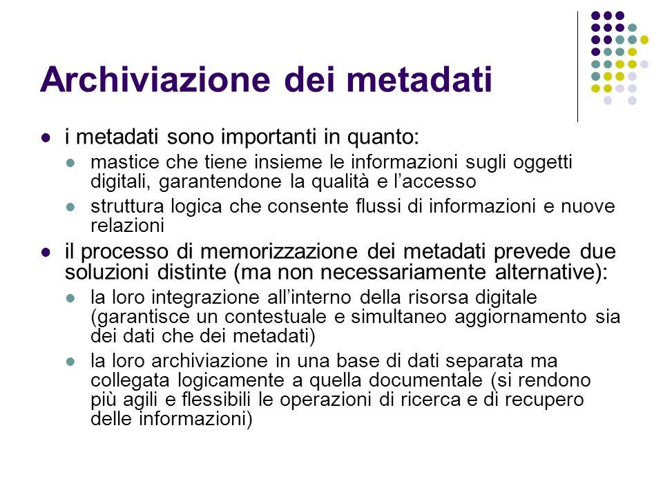 Archiviazione dei metadati