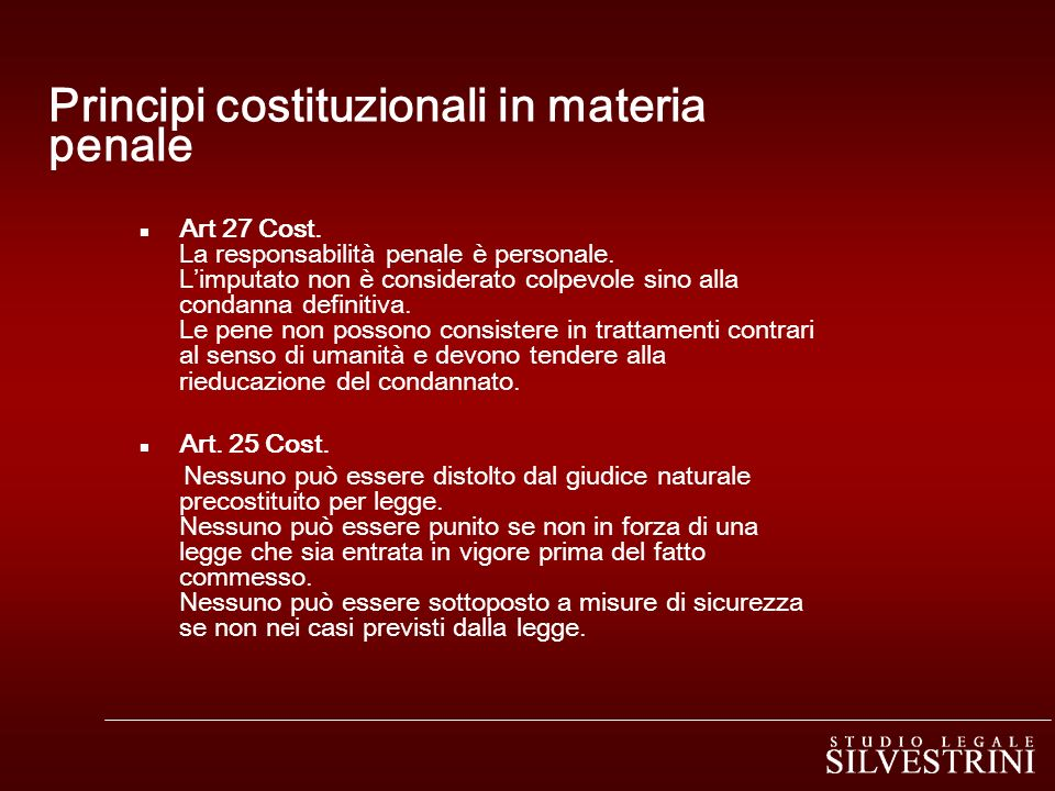 Principi costituzionali in materia penale
