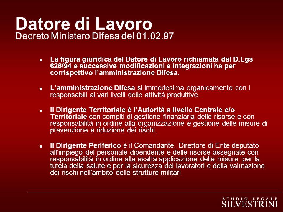 Datore di Lavoro Decreto Ministero Difesa del 01.02.97