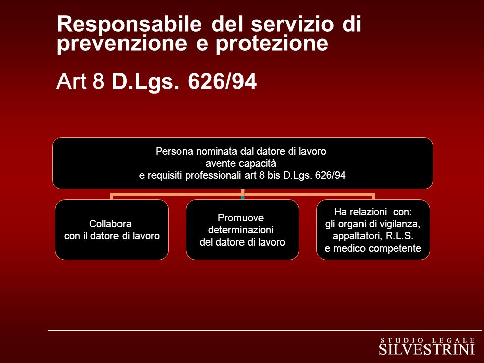 Responsabile del servizio di prevenzione e protezione Art 8 D. Lgs