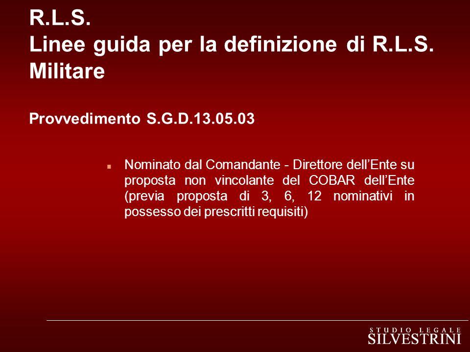 R. L. S. Linee guida per la definizione di R. L. S