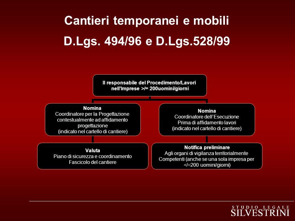 Cantieri temporanei e mobili D.Lgs. 494/96 e D.Lgs.528/99