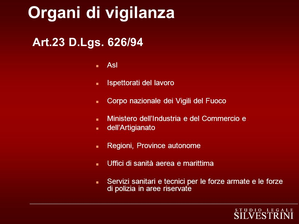 Organi di vigilanza Art.23 D.Lgs. 626/94