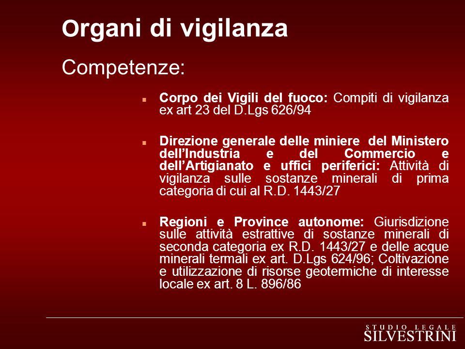 Organi di vigilanza Competenze:
