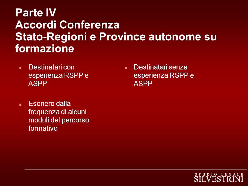 Parte IV Accordi Conferenza Stato-Regioni e Province autonome su formazione