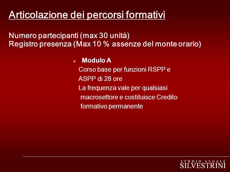 Articolazione dei percorsi formativi Numero partecipanti (max 30 unità) Registro presenza (Max 10 % assenze del monte orario)
