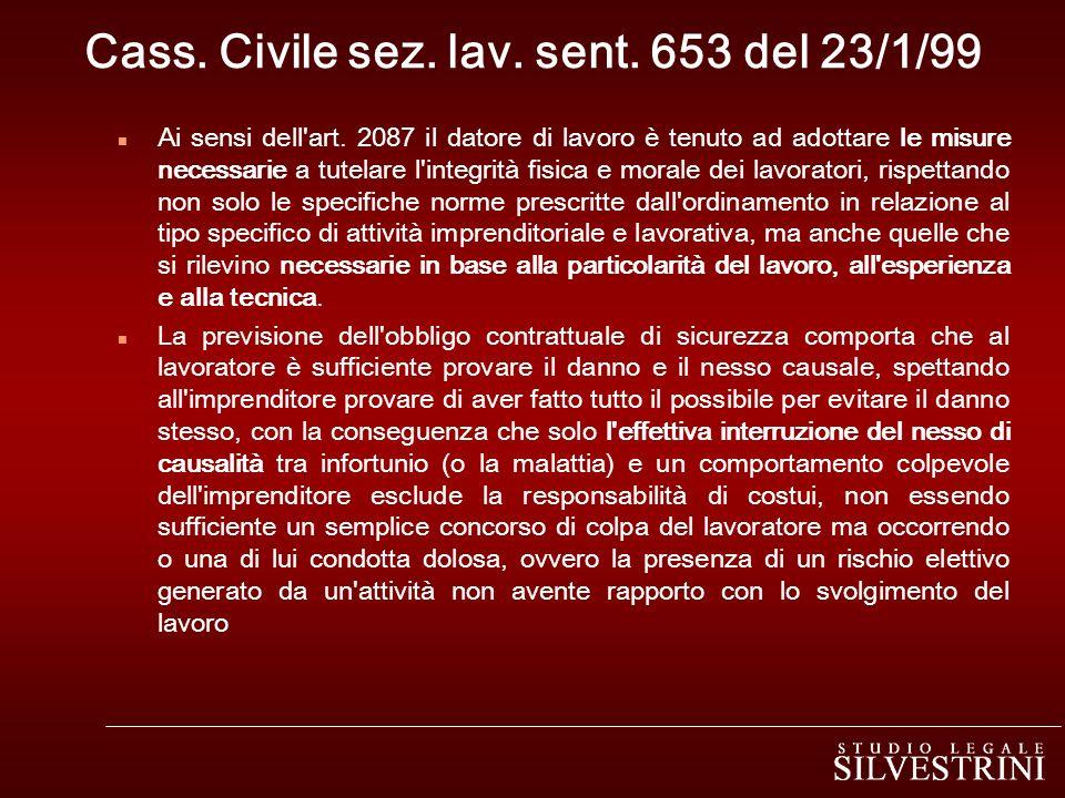 Cass. Civile sez. lav. sent. 653 del 23/1/99