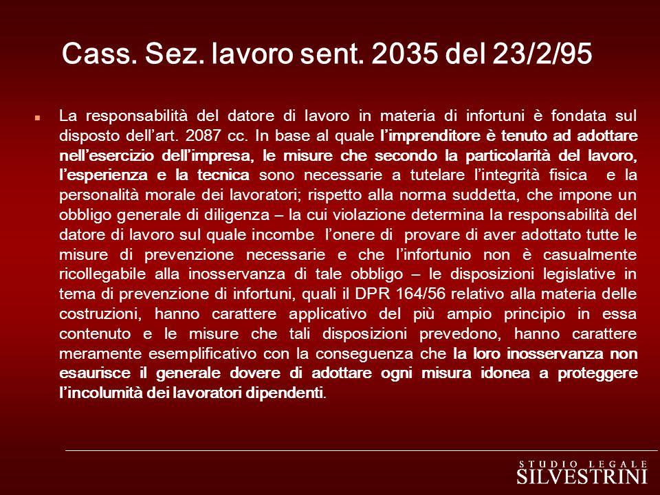 Cass. Sez. lavoro sent. 2035 del 23/2/95