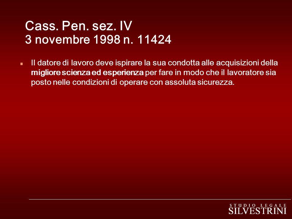 Cass. Pen. sez. IV 3 novembre 1998 n. 11424
