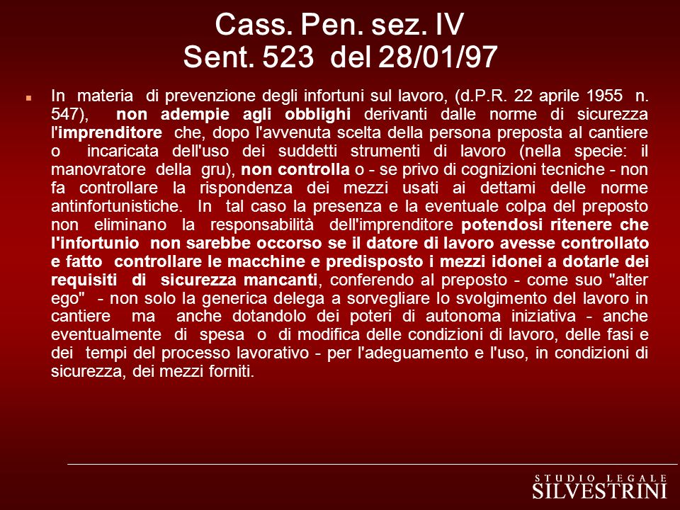 Cass. Pen. sez. IV Sent. 523 del 28/01/97