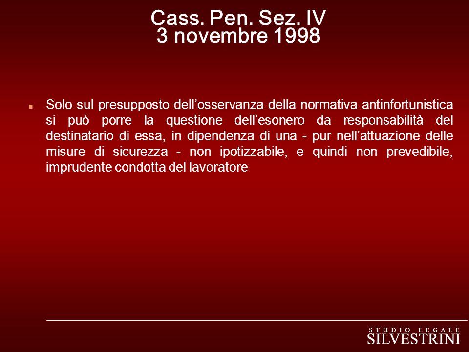 Cass. Pen. Sez. IV 3 novembre 1998