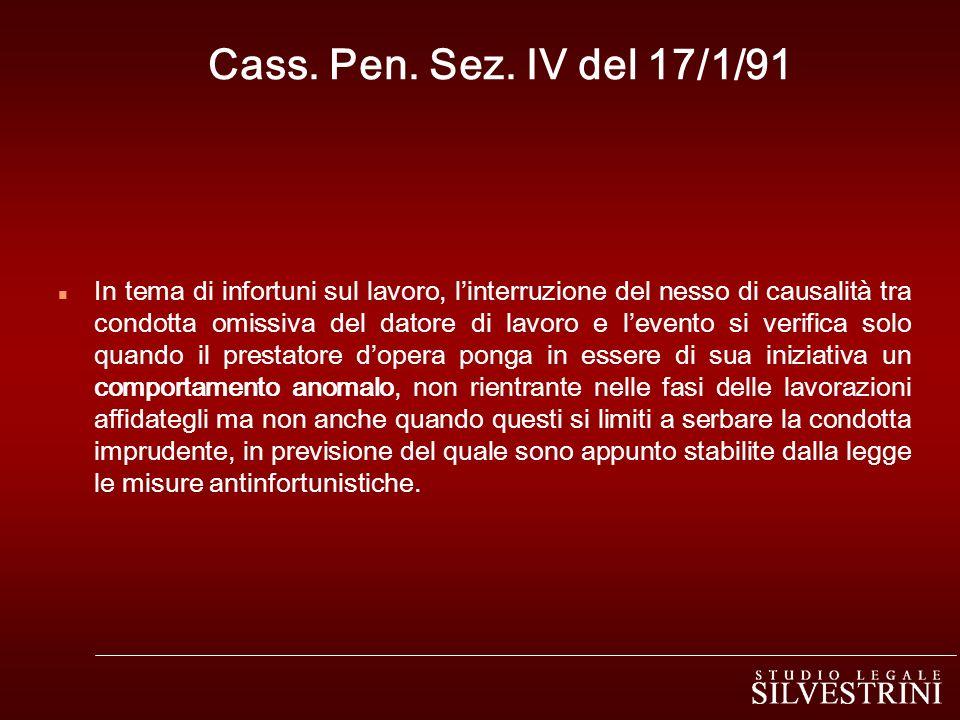 Cass. Pen. Sez. IV del 17/1/91