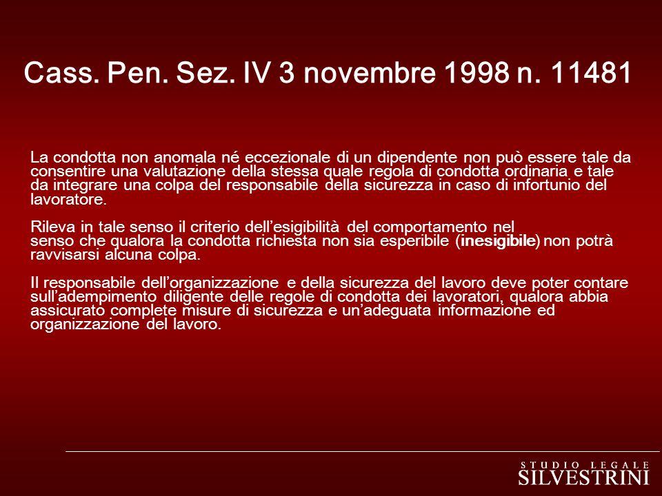 Cass. Pen. Sez. IV 3 novembre 1998 n. 11481