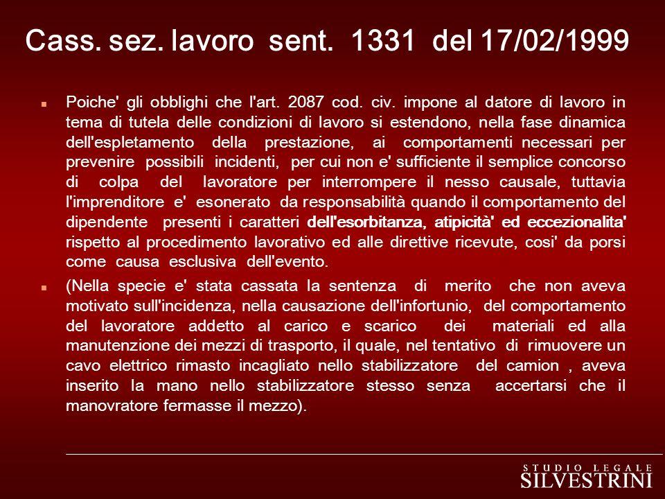 Cass. sez. lavoro sent. 1331 del 17/02/1999