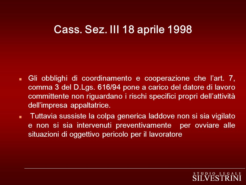 Cass. Sez. III 18 aprile 1998