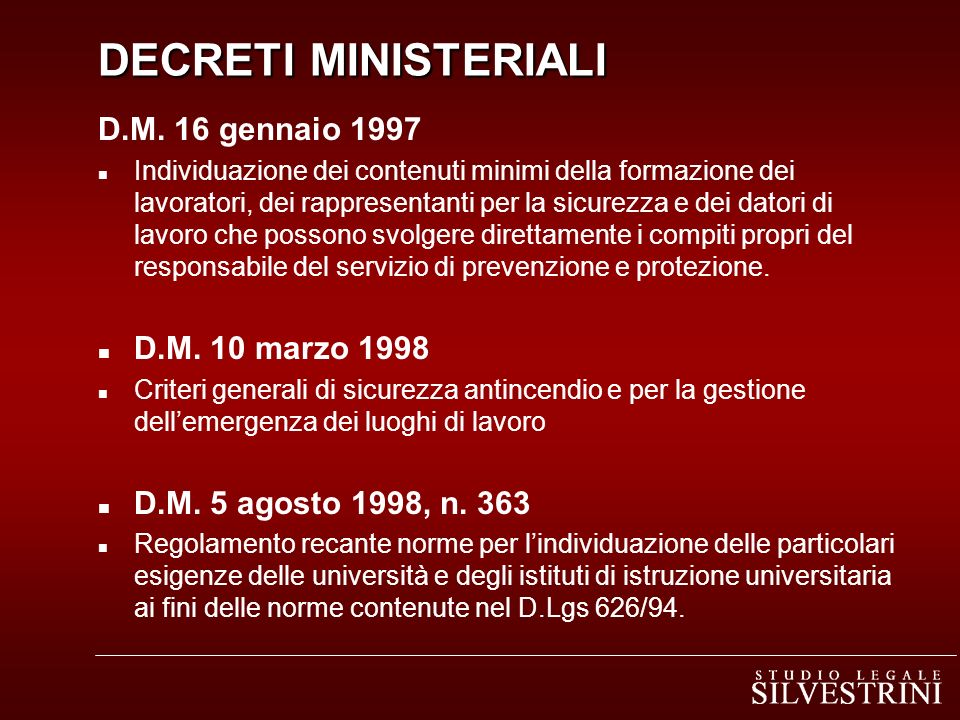 DECRETI MINISTERIALI D.M. 16 gennaio 1997 D.M. 10 marzo 1998