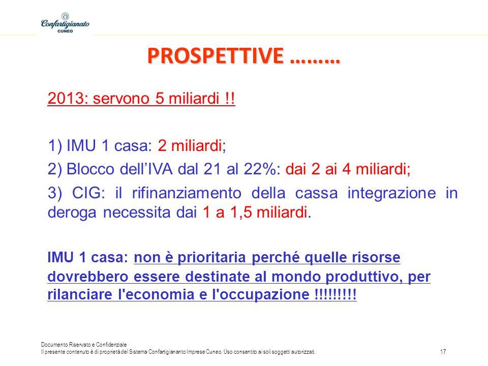 PROSPETTIVE ……… 2013: servono 5 miliardi !! 1) IMU 1 casa: 2 miliardi;
