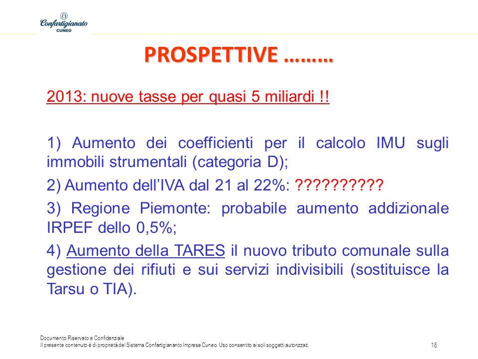 PROSPETTIVE ……… 2013: nuove tasse per quasi 5 miliardi !!
