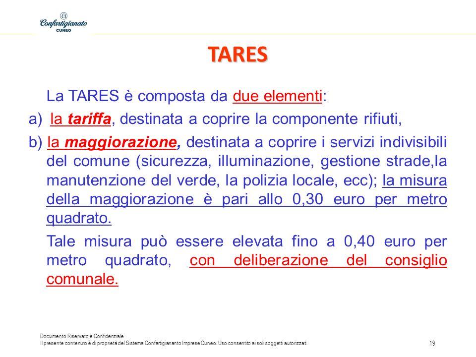 TARES La TARES è composta da due elementi: