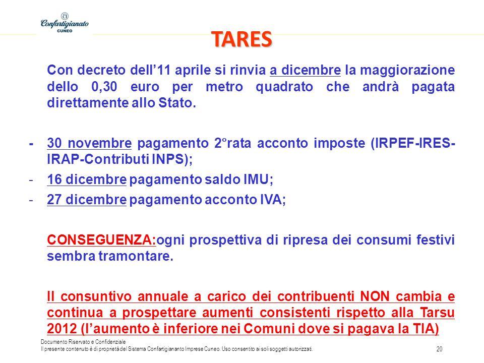 TARES Con decreto dell'11 aprile si rinvia a dicembre la maggiorazione dello 0,30 euro per metro quadrato che andrà pagata direttamente allo Stato.