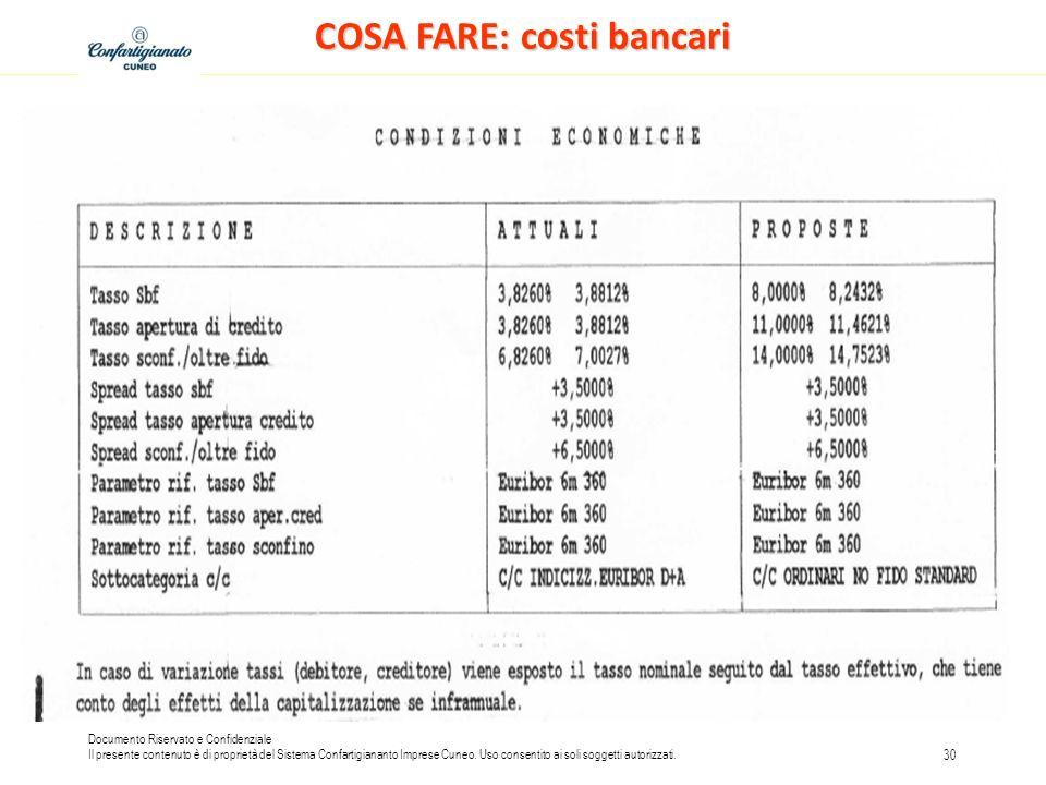 COSA FARE: costi bancari
