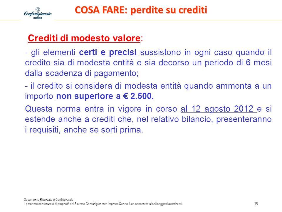 COSA FARE: perdite su crediti