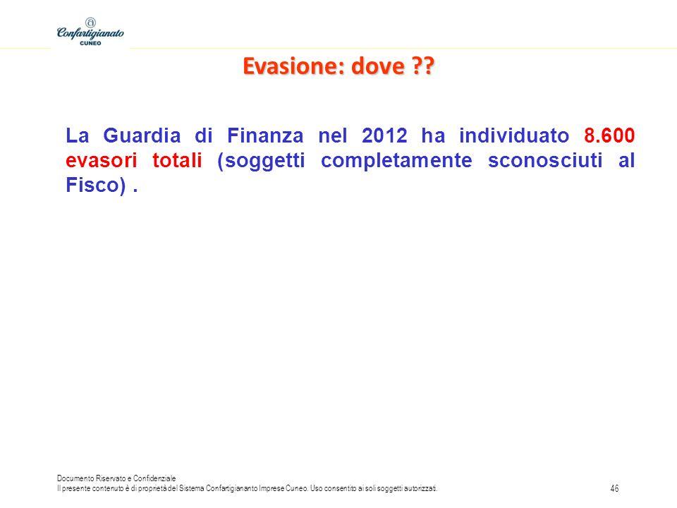 Evasione: dove La Guardia di Finanza nel 2012 ha individuato 8.600 evasori totali (soggetti completamente sconosciuti al Fisco) .