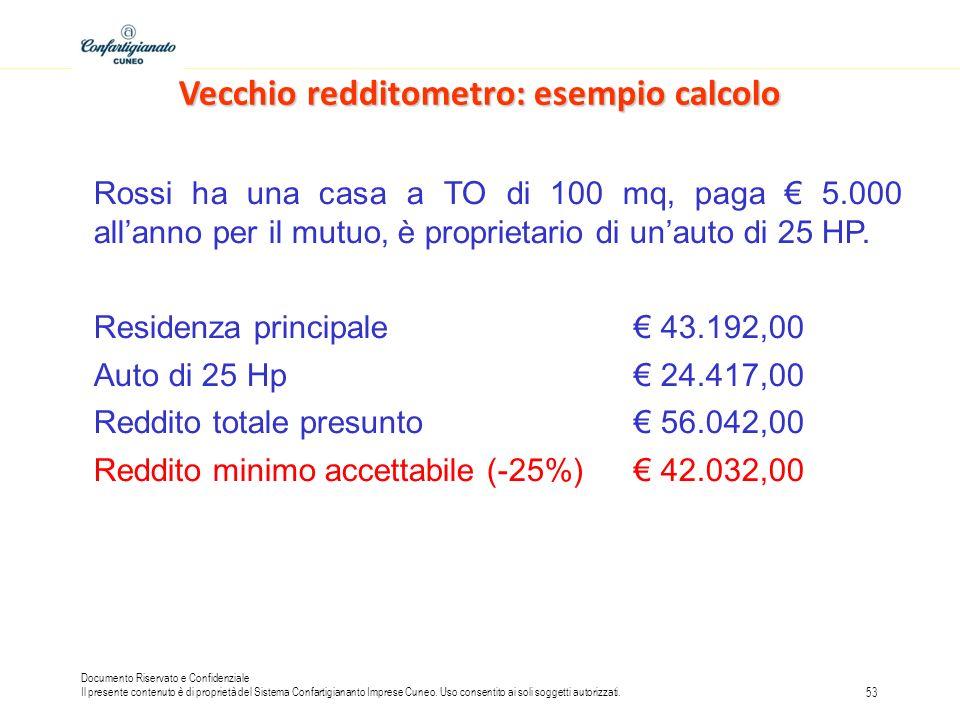 Vecchio redditometro: esempio calcolo